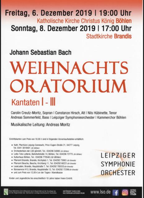 Johann Sebastian Bach Weihnachtsoratorium Kantaten 1-3 Kammerchor Böhlen - singen im Südraum Leipzig, Brandis Böhlen