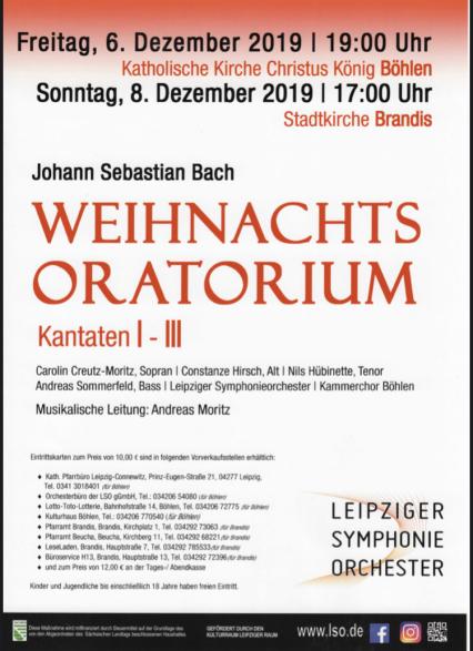 Weihnachtsoratorium mitsingen im Südraum Leipzig