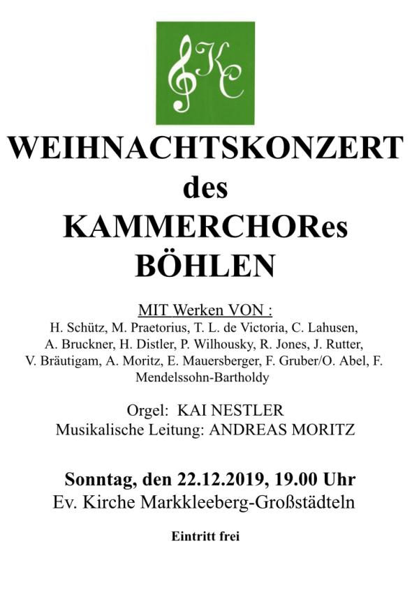 Weihnachtskonzerte Kammerchor Böhlen